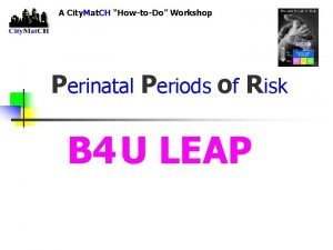 A City Mat CH HowtoDo Workshop Perinatal Periods