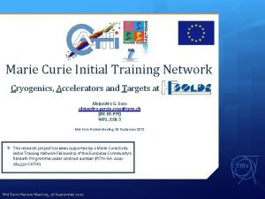 CATHI Marie Curie Initial Training Network Cryogenics Accelerators