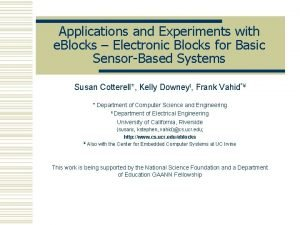 Applications and Experiments with e Blocks Electronic Blocks