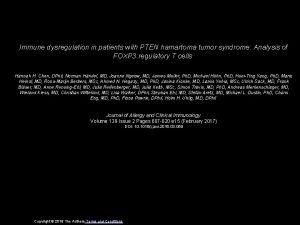 Immune dysregulation in patients with PTEN hamartoma tumor