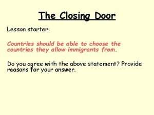The Closing Door Lesson starter Countries should be