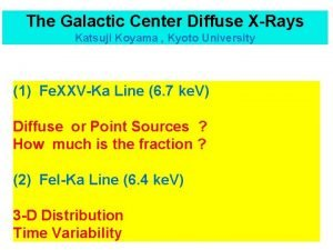 The Galactic Center Diffuse XRays Katsuji Koyama Kyoto