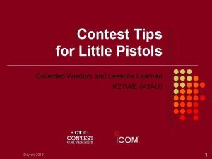 Contest Tips for Little Pistols Collected Wisdom and