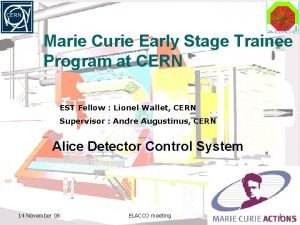 Marie Curie Early Stage Trainee Program at CERN
