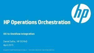 HP Operations Orchestration OO to One View Integration