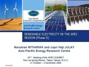 Asia Pacific Energy Research Centre RENEWABLE ELECTRICITY IN