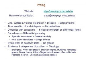 Prolog Website Homework submission http ckw phys ncku