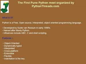 The First Pune Python meet organized by Python
