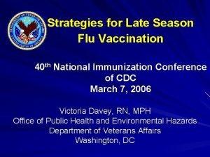 Strategies for Late Season Flu Vaccination 40 th