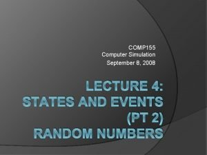 COMP 155 Computer Simulation September 8 2008 LECTURE
