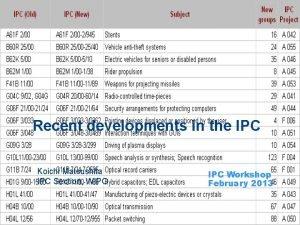 Recent developments in the IPC Koichi Matsushita IPC