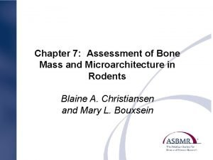 Chapter 7 Assessment of Bone Mass and Microarchitecture