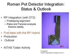 Roman Pot Detector Integration Status Outlook RP Integration