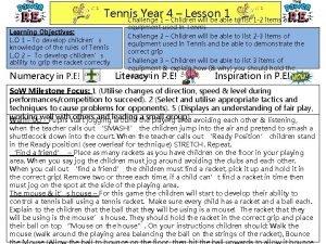 Tennis Year 4 Lesson 1 Challenge 1 Children