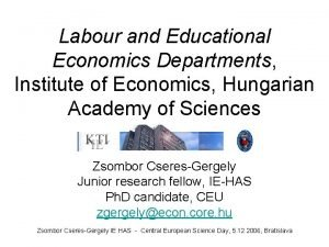 Labour and Educational Economics Departments Institute of Economics