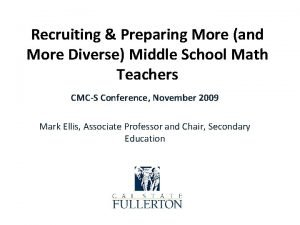 Recruiting Preparing More and More Diverse Middle School