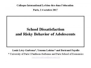 Colloque International Le bientre dans lducation Paris 2