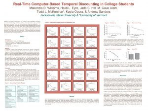 RealTime ComputerBased Temporal Discounting in College Students Makenzie