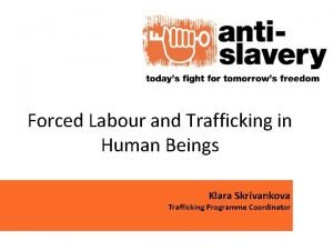 Forced Labour and Trafficking in Human Beings Klara