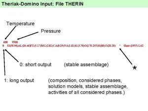 TheriakDomino Input File THERIN Temperature Pressure 600 9500