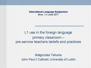 International Language Symposium Brno 1 3 June 2017