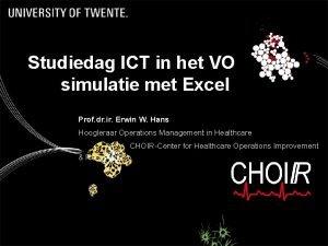 Studiedag ICT in het VO simulatie met Excel