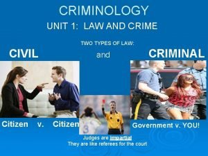 CRIMINOLOGY UNIT 1 LAW AND CRIME TWO TYPES