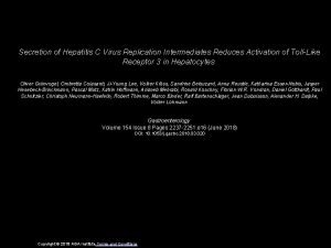 Secretion of Hepatitis C Virus Replication Intermediates Reduces