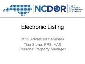 Electronic Listing 2019 Advanced Seminars Tina Stone PPS