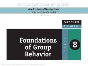 ORGANIZATIONAL BEHAVIOR Ace Institute of Management MBAe Term