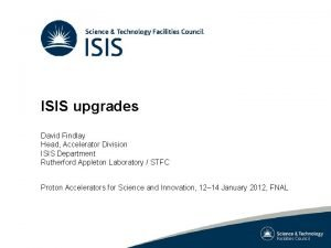 ISIS upgrades David Findlay Head Accelerator Division ISIS