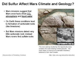 Did Sulfur Affect Mars Climate and Geology Mars