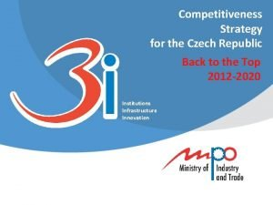 Competitiveness Strategy for the Czech Republic Back to