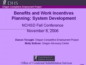 Benefits and Work Incentives Planning System Development NCHSD