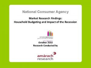 National Consumer Agency Market Research Findings Household Budgeting