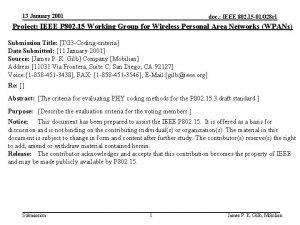 13 January 2001 doc IEEE 802 15 01028