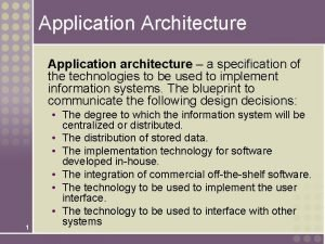 Application Architecture Application architecture a specification of the