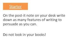 Starter On the postit note on your desk