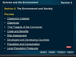 Science and the Environment Section 2 The Environment