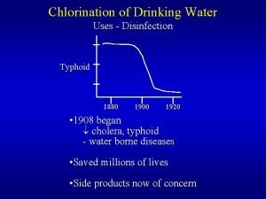 Chlorination of Drinking Water Uses Disinfection Typhoid 1880
