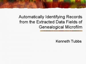 Automatically Identifying Records from the Extracted Data Fields