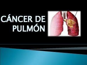 CNCER DE PULMN INTRODUCCION El cncer pulmonar es