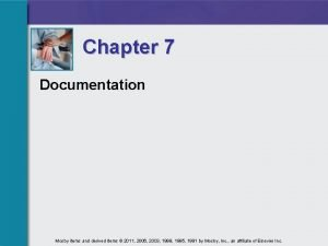 Chapter 7 Documentation Mosby items and derived items