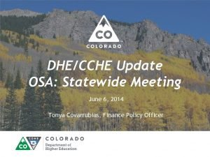 DHECCHE Update OSA Statewide Meeting June 6 2014
