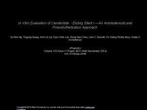In Vitro Evaluation of CenderitideEluting Stent I An