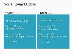 Social Exam Outline Social 10 1 Social 10