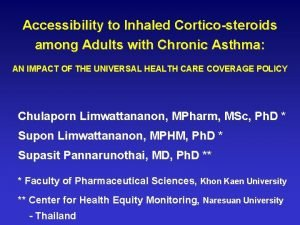 Accessibility to Inhaled Corticosteroids among Adults with Chronic