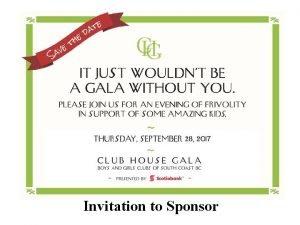 Invitation to Sponsor Boys and Girls Clubs BGC