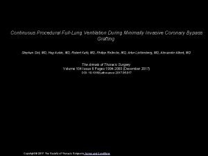 Continuous Procedural FullLung Ventilation During Minimally Invasive Coronary