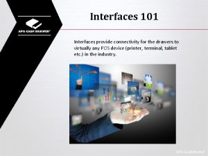 Interfaces 101 Interfaces provide connectivity for the drawers